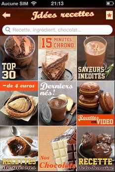 chocolat nestlé application